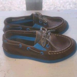 Boys Blue & Brown Sperry Topsider Slip On 9.5